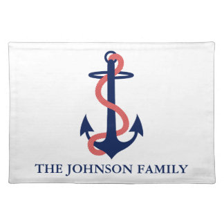 Red White Blue Anchor Nautical Placemats Custom