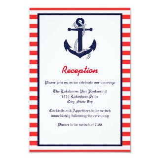 Red White & Blue Anchor - Reception Invitation
