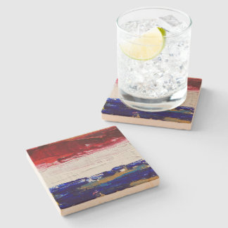 Red, White, Blue, and Gold Stone Beverage Coaster