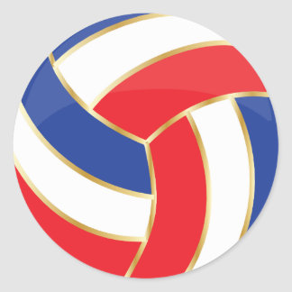 Red, White, Blue and Gold Volleyball Round Stickers