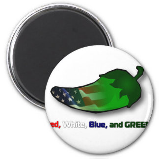 Red, White, Blue and Green 6 Cm Round Magnet