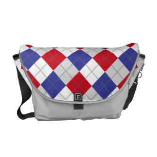 Red, White, Blue and Grey Argyle Pattern Bag Messenger Bag