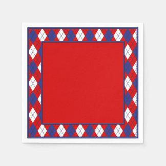 Red, White, Blue  Argyle 1-PAPER PARTY NAPKINS R Paper Napkin