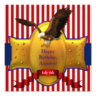 Red White Blue Bald Eagle Patriotic 4th of July 13 Cm X 13 Cm Square Invitation Card
