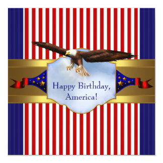 Red White Blue Bald Eagle Patriotic 4th of July Custom Announcements