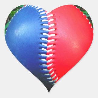 Red White & Blue Baseball Heart Stickers
