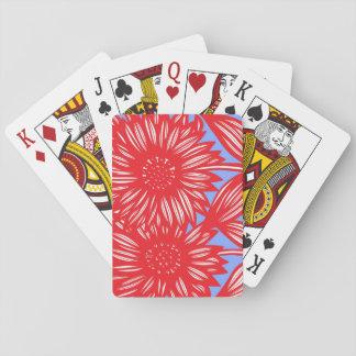 Red White Blue Big Flowers Card Decks