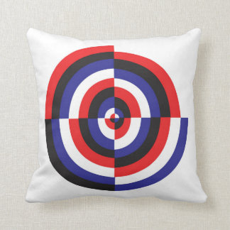 Red, White, Blue, Black, Circle Pattern Throw Pillow