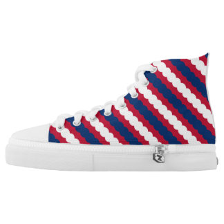 Red, White & Blue Bubble Stripes High Tops