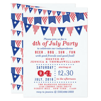 Red, White & Blue Bunting Flags 4th Of July Party Card