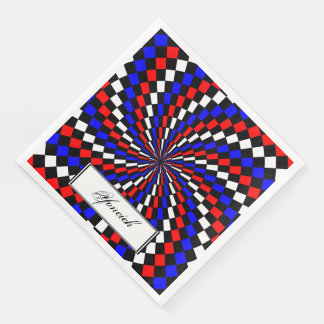 Red White Blue Checker Spiral by Kenneth Yoncich Disposable Napkin