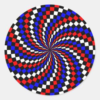 Red White Blue Checker Spiral by Kenneth Yoncich Round Sticker