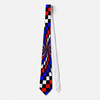 Red White Blue Checker Spiral Tie