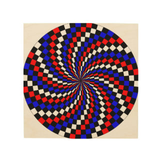 Red white Blue Checker Spiral Wood Canvases