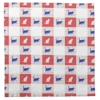 Red, White & Blue Checkerboard Cat Pattern Napkin