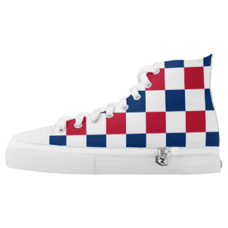 Red, White Blue Checkerboard High Tops