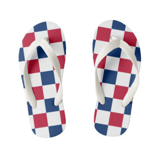 Red, White & Blue Checkerboard Kid's Thongs