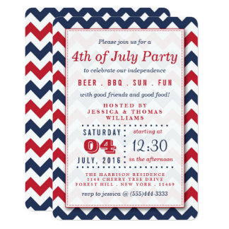 Red, White & Blue Chevron 4th Of July Party Card