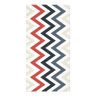 Red White Blue Chevron Geometric Designs Color Photo Greeting Card