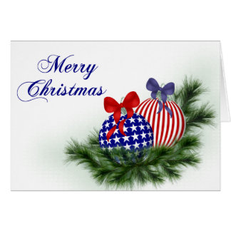 Red, White & Blue Christmas Card