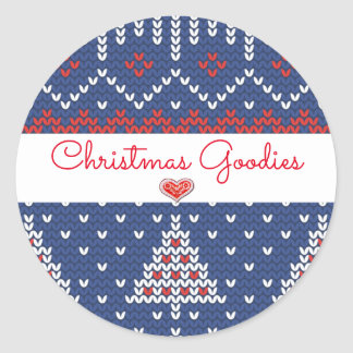 Red White Blue Christmas Goodies Round Sticker