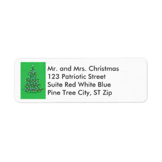 Red White Blue Christmas Tree Address Labels