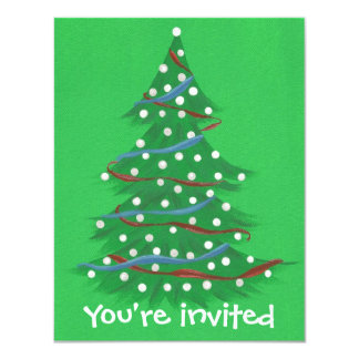 Red White Blue Christmas Tree Party Invitations