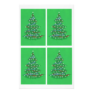 Red White Blue Christmas Trees Scrapbook Paper Custom Stationery