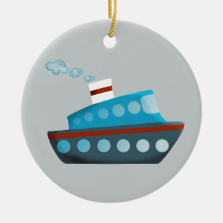 Red White Blue Cruise Ship Ceramic Ornament