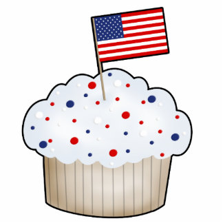 Red, White, Blue Cupcake with Flag Photo Sculpture Decoration