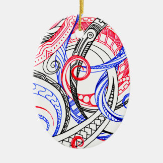 Red White Blue Curley Zen Doodle Design Ceramic Oval Decoration