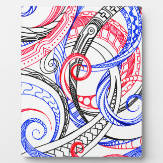 Red White Blue Curley Zen Doodle Design Display Plaques