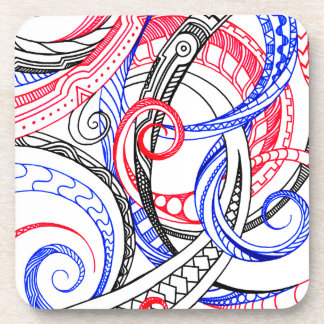 Red White Blue Curley Zen Doodle Design Drink Coaster