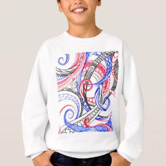 Red White Blue Curley Zen Doodle Design Sweatshirt