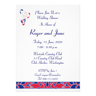 Red, White, & Blue, Damask Bridal Shower Announcements