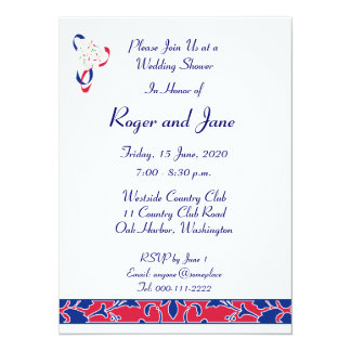 Red, White, & Blue, Damask Bridal Shower 5.5x7.5 Paper Invitation Card