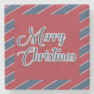 Red White Blue Denim Merry Christmas Coaster