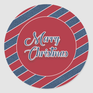 Red White Blue Denim Merry Christmas Sticker