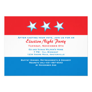 Red White Blue Election Day Party Invitation