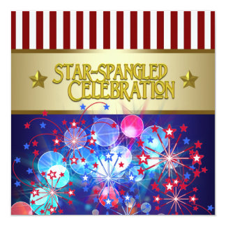 """Red White & Blue Fireworks 4th of July Invitations 5.25"""" Square Invitation Card"""