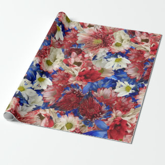 Red White Blue Flora Wrapping Paper