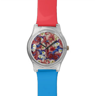 Red White Blue Flora Wristwatches