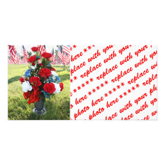 Red White Blue Floral Arrangement Photo Card