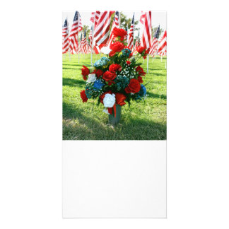 Red White & Blue Floral Arrangement Custom Photo Card