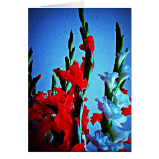 Red, white & blue flowers card