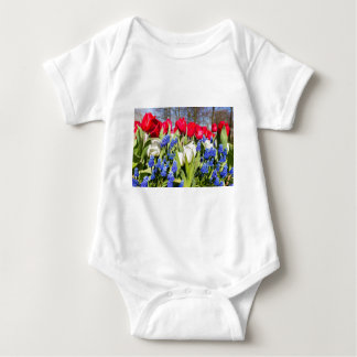 Red white blue flowers in spring season baby bodysuit