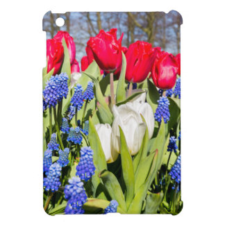 Red white blue flowers in spring season case for the iPad mini