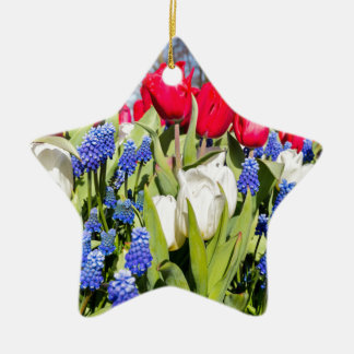 Red white blue flowers in spring season ceramic ornament