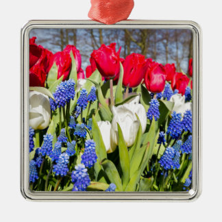 Red white blue flowers in spring season metal ornament