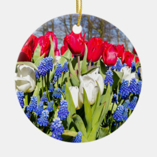 Red white blue flowers in spring season round ceramic decoration